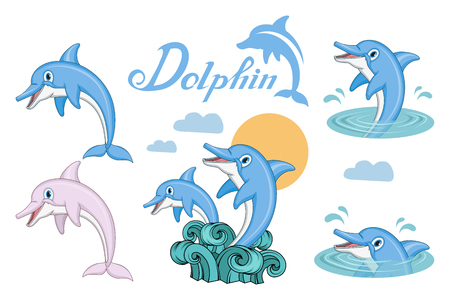 Dolphin set. Cartoon dolphin. Sea animal. Vector graphics to design
