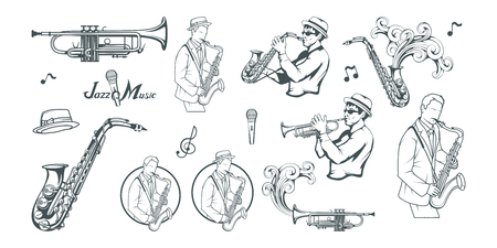Jazz set. Saxophone player. Lettering with a microphone. Silhouette of a musician Vector graphics to design