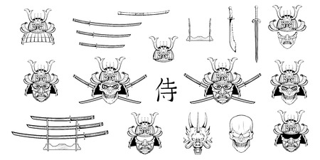 Set of different elements of samurai design - samurai mask, helmet, Japanese sword, katana sword, Chinese dragon and skull. Mask of a samurai warrior with a sword. Vector graphics to design