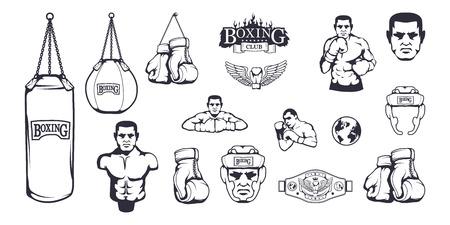 Conjunto de diferentes elementos para el diseño de la caja: casco de boxeo, saco de boxeo, guantes de boxeo, cinturón de boxeo, hombre boxeador. Conjunto de equipamiento deportivo. Ilustraciones de fitness. Ilustración de vector