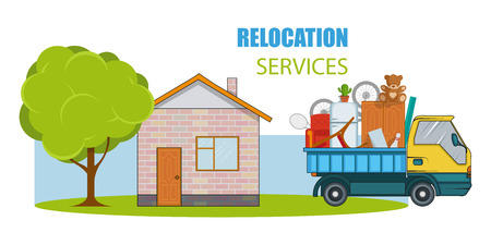 Relocation service. Moving concept. Cargo Truck is transporting things near the house with a tree. Delivery freight truck illustration. Transport company for relocation and moving. Vector graphics to design 스톡 콘텐츠 - 102570619