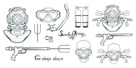Set for design scuba diving.Diver with scuba. Scuba-diving helmet. Skull in the mask of a diver.
