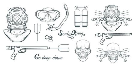 Set for design scuba diving.Diver with scuba. Scuba-diving helmet. Skull in the mask of a diver.