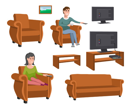 Gran familia feliz viendo la televisión en el sofá. Hombre con taza de café. Noche viendo series de televisión. Conjunto de varios elementos de visualización de televisión. Gráficos vectoriales para diseñar