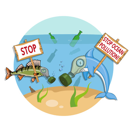 Ocean pollution concept. Dolphin in a gas mask asks to stop the pollution of the ocean. Vector graphics to design 矢量图像
