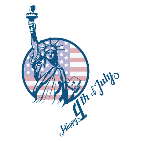 America's Independence Day. Traditional Symbols of America. The Statue of Liberty. Happy Independence Day. American flag. Vector graphics to design