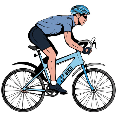 Cyclist on a bicycle. Sports bike. Bicycle helmet. Man riding a bike. Vector graphics to design