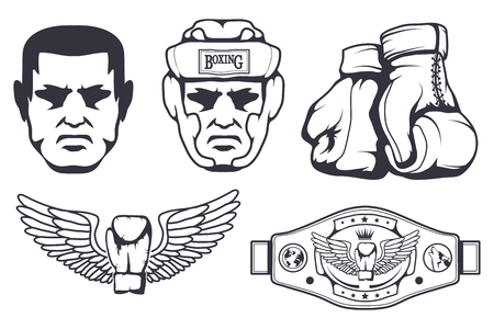 Set of different elements for box design - boxing gloves, boxer man, boxing helmet, boxing belt. Sports equipment set. Fitness illustrations. Sport Club logo. Vector graphics to design