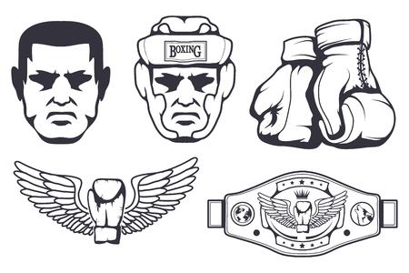 Set of different elements for box design - boxing gloves, boxer man, boxing helmet, boxing belt. Sports equipment set. Fitness illustrations. Sport Club logo. Vector graphics to design