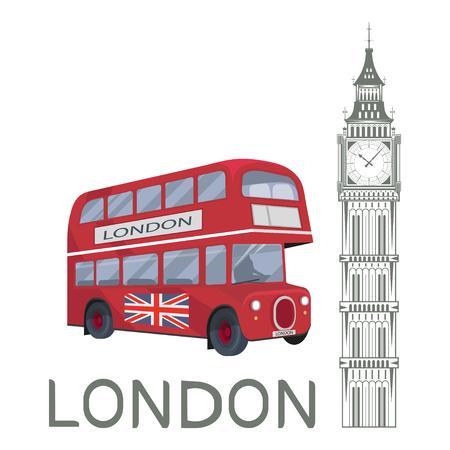 Set for design on London. Great Britain. Big Ben Tower. London bus. Vector graphics to design