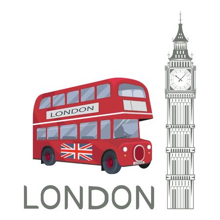Establecido para el diseño en Londres. Gran Bretaña. Torre Big Ben. Bus de Londres. Gráficos vectoriales para diseñar