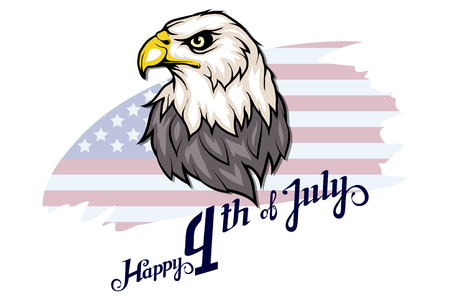 America's Independence Day. Traditional Symbols of America. Bald eagle logo. Happy Independence Day. American flag. Vector graphics to design