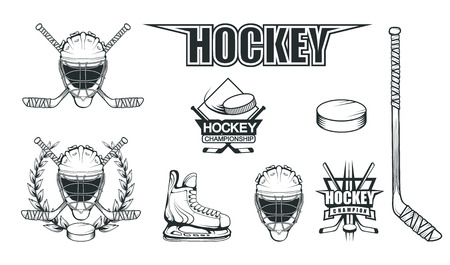 Set of different elements for hockey playing. Hockey helmet. Professional ice skates illustration. Ice Games logo. Goalkeeper mask with sticks. Vector graphics to design