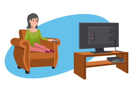 Women watching TV on sofa. Evening watching television series. Interior of the room with TV and people sitting on the couch. Vector graphics to design