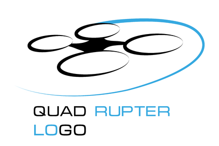 Illustrations of Drone quadrocopter. Drone with camera. Robotics illustration. Vector graphics to design