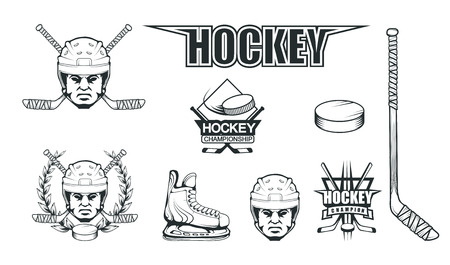 Hockey helmet. Professional ice illustration. Skull with hockey helmet. Ice Games logo. Goalkeeper mask with sticks. Vector graphics to design