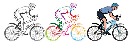 Set of various cycling elements. Cyclist on a bicycle. Sports bike. Bicycle helmet. Man riding a bike. Vector graphics to design