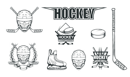 Set of different elements for hockey playing. Hockey helmet. Professional ice skates illustration. Skull with hockey helmet. Ice Games logo. Goalkeeper mask with sticks. Vector graphics to design
