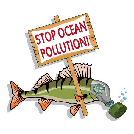 Ocean pollution concept. Sea fish asks stop the pollution of the ocean. Vector graphics to design