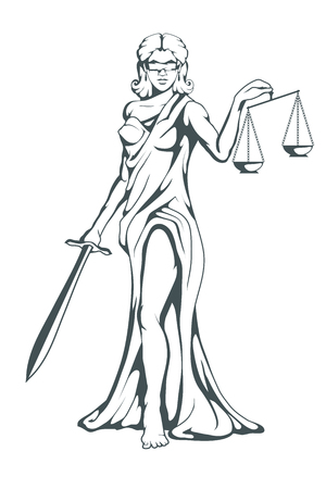 Themis - Ancient Greek goddess of justice. Hand drawn scales of justice. Symbols of the femida - justice, law, scales. Libra and a sword in hands, a bandage on eyes. Vector graphics to design.