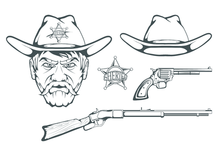 Cowboy Set for design. Hand drawn cowboy hat. Cartoon character man in the wild west. Retro Rifle and revolver. Sheriffs Badge. Western. Elements of the Wild West. Vector graphics to design. Illustration