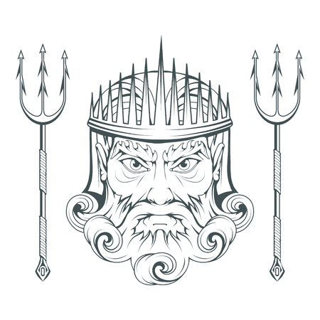 Poseidon - Ancient Greek supreme sea god. Greek mythology. Neptune trident. Olympian gods collection. Hand drawn Man Head. Bearded man. Vector graphics to design.