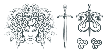 Gorgon Medusa - monster with a female face and snakes instead of hair. Sword. Medusa head. Greek mythology. Hand drawn traditional Greek ornament. Snake tattoo. Vector graphics to design. 矢量图像
