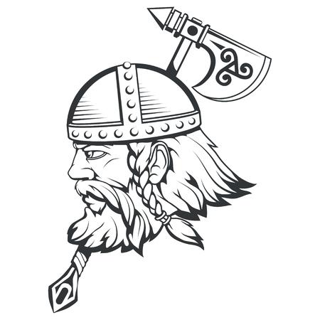 Dibujado a mano de un vikingo en un casco. Armas tradicionales escandinavas. Personaje de dibujos animados hombre barbudo. Tatuaje vikingo. Adorno nórdico tradicional. Mitología nórdica. Gráficos vectoriales para diseñar.