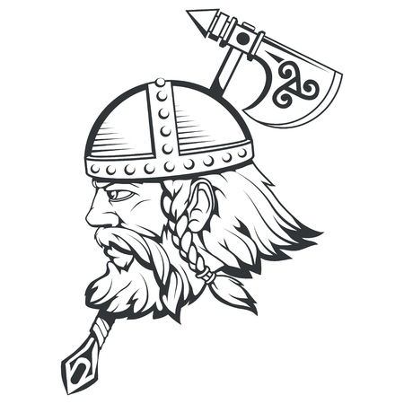 Hand drawn of a viking in a helmet. Scandinavian traditional weapons. Cartoon bearded man character. Viking tattoo. Traditional norse ornament. Norse mythology. Vector graphics to design. Illusztráció