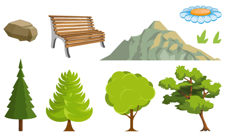 Landscape with a Mountains and Trees. Nature as a background. Park elements for landscape. Hand drawn Cartoon nature. Paysage with blue sky and flower fields. Vector graphics to design.