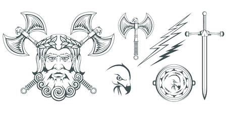 Zeus - the ancient Greek god of heaven, thunder and lightning. Greek mythology. Two-sided ax, labrys, and eagle. Olympian gods collection. Hand drawn Man Head. Bearded man. Vector graphics to design.