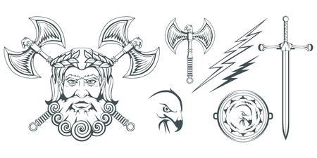 Zeus - the ancient Greek god of heaven, thunder and lightning. Greek mythology. Two-sided ax, labrys, and eagle. Olympian gods collection. Hand drawn Man Head. Bearded man. Vector graphics to design. Vektoros illusztráció