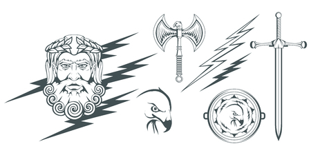 Zeus - the ancient Greek god of heaven, thunder and lightning. Greek mythology. Two-sided ax labrys and eagle. Olympian gods collection. Hand drawn Man Head. Bearded man. Vector graphics to design.