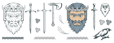 Hades - the ancient Greek god of the underworld of the dead. Greek mythology. Sword of hell and the raven. Olympian gods collection. Hand drawn Man Head. Bearded man. Vector graphics to design.  イラスト・ベクター素材