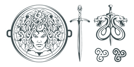 Gorgon Medusa - monster with a female face and snakes instead of hair. Sword. Medusa head. Greek mythology. Hand drawn traditional Greek ornament. Snake tattoo. Vector graphics to design. Illustration