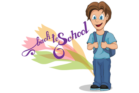 Back to School. Cartoon school boy. Hand drawing of student with a backpack. School kids concept. Happy school children in uniform. Vector graphics to design.  イラスト・ベクター素材