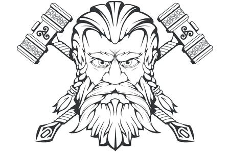 Skandinavischer Gott des Donners und des Sturms. Handzeichnung von Thors Kopf. Der Hammer von Thor - mjolnir. Sohn von Odin. Cartoon bärtiger Mann Charakter. Nordischen Mythologie. Vektorgrafiken zu entwerfen.