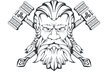 Scandinavian god of thunder and storm. Hand drawing of Thors Head. The hammer of Thor - mjolnir. Son of Odin. Cartoon bearded man character. Norse mythology. Vector graphics to design.