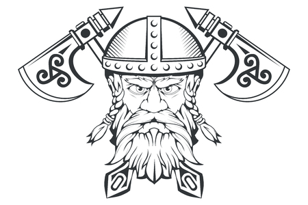 Hand drawn of a viking in a helmet. Scandinavian traditional weapons. Cartoon bearded man character. Viking tattoo. Traditional norse ornament. Norse mythology. Vector graphics to design. Illustration