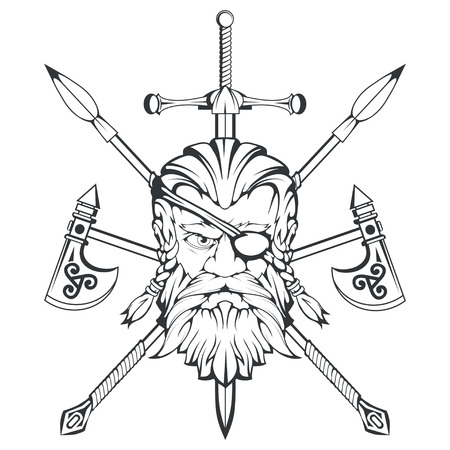 Scandinavian supreme god of Norse mythology - Odin. Hand drawing of Odin Head. Cartoon bearded man character. God Odin, Wotan tattoo. Traditional norse ornament. Vector graphics to design.