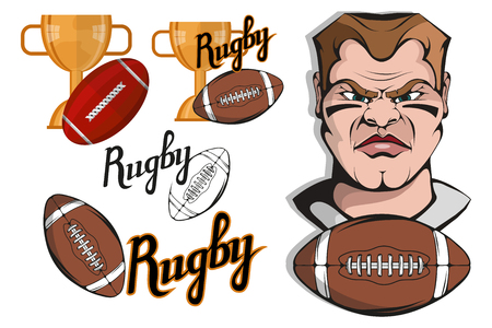 Set of Football player design elements. Hand drawn Rugby player. Cartoon soccer player. Set for football concept. Gold champions and winner cup. Cartoon Man Head. Rugby ball. Vector graphics to design Illustration