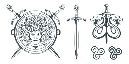 Gorgon Medusa - monster with a female face and snakes instead of hair. Sword. Medusa head. Greek mythology. Hand drawn traditional Greek ornament. Snake tattoo. Vector graphics to design. Stock Illustratie