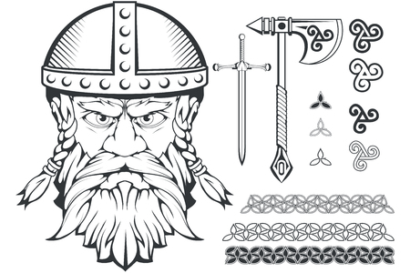 Hand drawn of a viking in a helmet. Scandinavian traditional weapons. Cartoon bearded man character. Viking tattoo. Traditional norse ornament. Norse mythology. Vector graphics to design.
