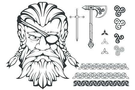 Skandinavischer oberster Gott der nordischen Mythologie - Odin. Handzeichnung von Odin Head. Cartoon bärtiger Mann Charakter. Gott Odin, Wotan Tattoo. Traditionelle nordische Verzierung. Vektorgrafiken zu entwerfen.