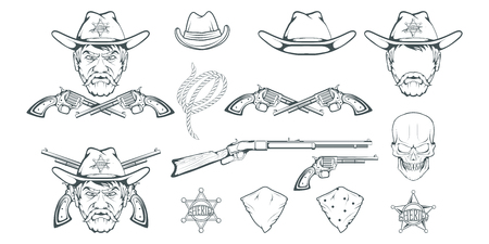 Cowboy Set for design. Hand drawn cowboy hat. Cartoon character man in the wild west. Retro Rifle and revolver. Sheriff's Badge. Western. Elements of the Wild West. Vector graphics to design 写真素材 - 114771013