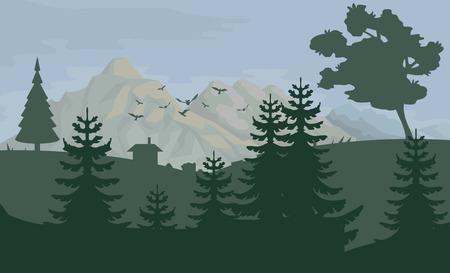 Paysage avec des montagnes et des arbres. La nature comme arrière-plan. Éléments de parc pour le paysage. Nature de dessin animé dessiné à la main. Paysage avec ciel bleu et champs de fleurs. Graphiques vectoriels à concevoir