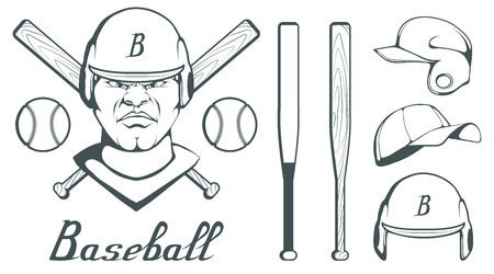 Set of baseball player design elements. Hand drawn Baseball ball. Cartoon baseball helmet. Hand drawn Man Head. Baseball bat. Vector graphics to design  イラスト・ベクター素材