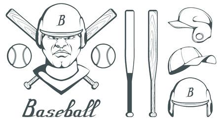 Conjunto de elementos de diseño de jugador de béisbol. Bola de béisbol dibujada a mano. Casco de béisbol de dibujos animados. Cabeza de hombre dibujada a mano. Bate de béisbol. Gráficos vectoriales para diseñar