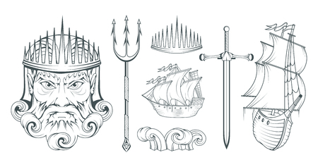 Poseidon - Ancient Greek supreme sea god. Greek mythology. Neptune trident. Olympian gods collection. Hand drawn Man Head. Bearded man. Vector graphics to design Vektoros illusztráció