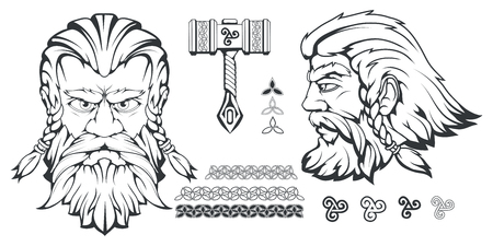 Scandinavian god of thunder and storm. Hand drawing of Thors Head. The hammer of Thor - mjolnir. Son of Odin. Cartoon bearded man character. Norse mythology. Vector graphics to design